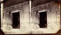 Close view of entrance to Buddhist vihara, Cave IV, Ajanta